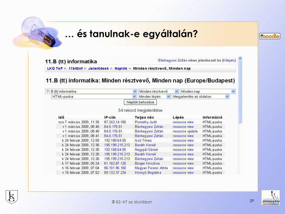 29 … és tanulnak-e egyáltalán? 29 © BZ: IKT az iskolában