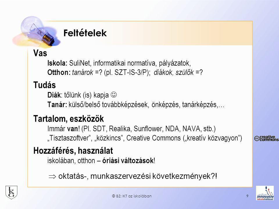 © BZ: IKT az iskolában9 Feltételek Vas Iskola: SuliNet, informatikai normatíva, pályázatok, Otthon: tanárok =? (pl. SZT-IS-3/P); diákok, szülők = ? Tu