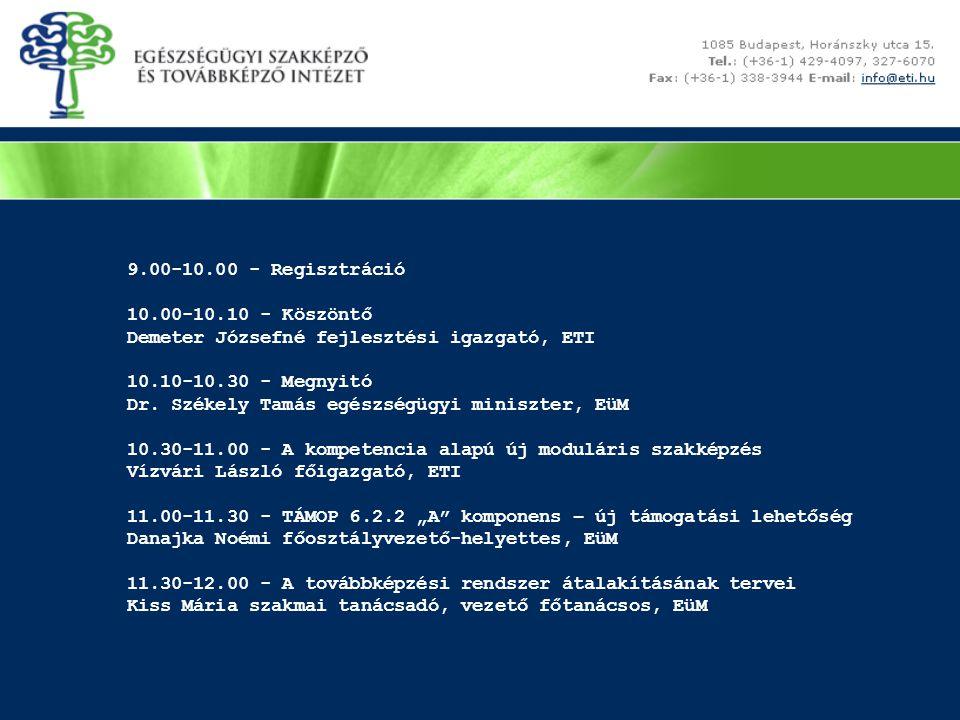 9.00-10.00 - Regisztráció 10.00-10.10 - Köszöntő Demeter Józsefné fejlesztési igazgató, ETI 10.10-10.30 - Megnyitó Dr.
