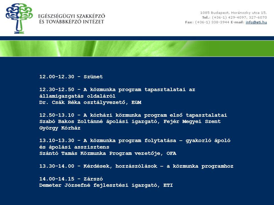 12.00-12.30 - Szünet 12.30-12.50 - A közmunka program tapasztalatai az államigazgatás oldaláról Dr.
