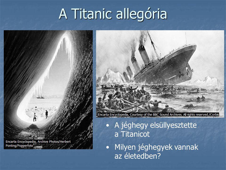 A Titanic allegória •A jéghegy elsüllyesztette a Titanicot •Milyen jéghegyek vannak az életedben?