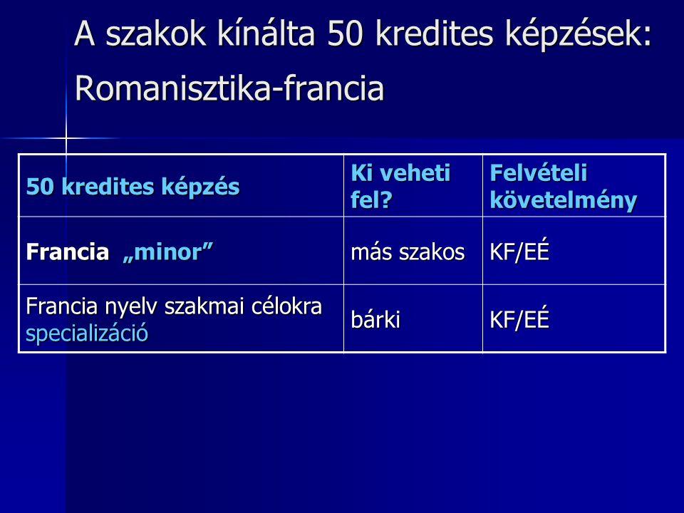 """A szakok kínálta 50 kredites képzések: Romanisztika-francia 50 kredites képzés Ki veheti fel? Felvételi követelmény Francia """"minor"""" más szakos KF/EÉ F"""