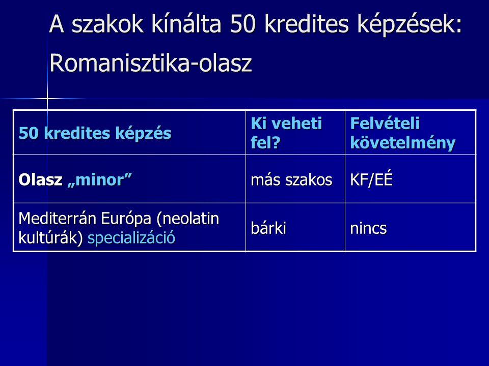 """A szakok kínálta 50 kredites képzések: Romanisztika-olasz 50 kredites képzés Ki veheti fel? Felvételi követelmény Olasz """"minor"""" más szakos KF/EÉ Medit"""