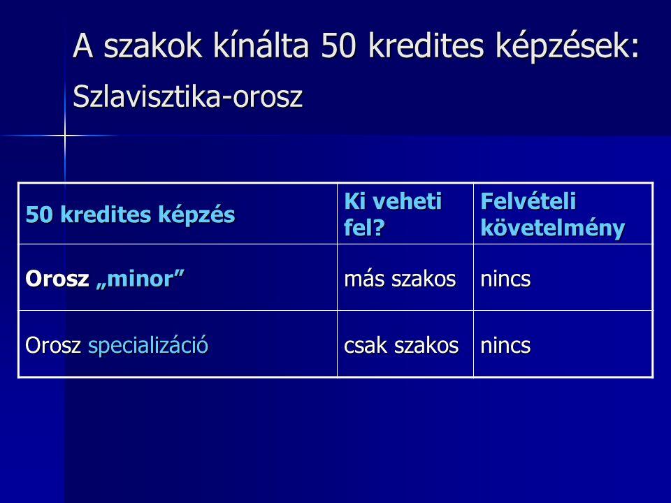 """A szakok kínálta 50 kredites képzések: Szlavisztika-orosz 50 kredites képzés Ki veheti fel? Felvételi követelmény Orosz """"minor"""" más szakos nincs Orosz"""