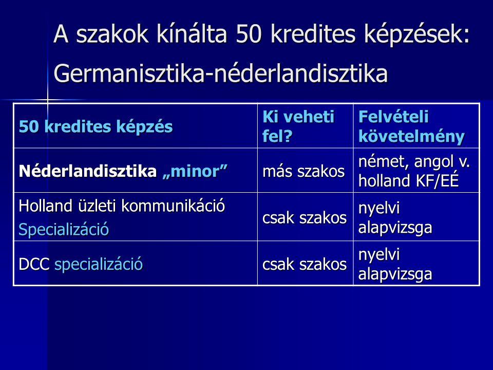 """A szakok kínálta 50 kredites képzések: Germanisztika-néderlandisztika 50 kredites képzés Ki veheti fel? Felvételi követelmény Néderlandisztika """"minor"""""""
