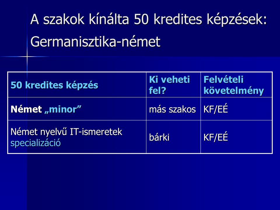 """A szakok kínálta 50 kredites képzések: Germanisztika-német 50 kredites képzés Ki veheti fel? Felvételi követelmény Német """"minor"""" más szakos KF/EÉ Néme"""