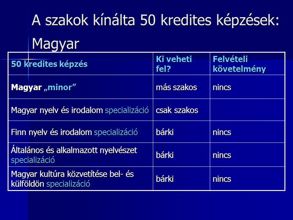 """A szakok kínálta 50 kredites képzések: Magyar 50 kredites képzés Ki veheti fel? Felvételi követelmény Magyar """"minor"""" más szakos nincs Magyar nyelv és"""