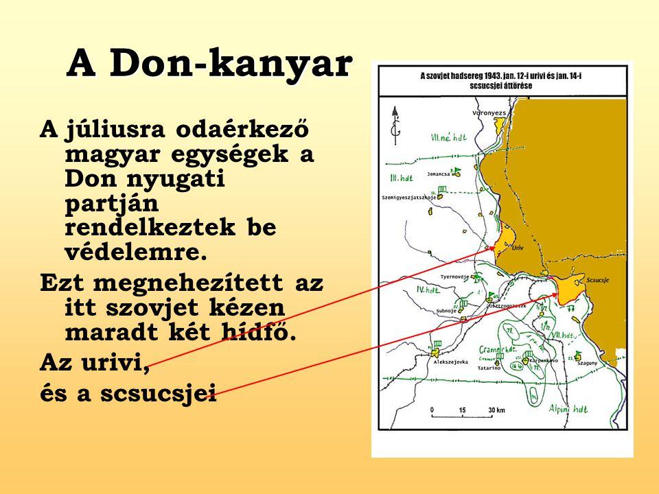 A Don-kanyar A júliusra odaérkező magyar egységek a Don nyugati partján rendelkeztek be védelemre. Ezt megnehezített az itt szovjet kézen maradt két h