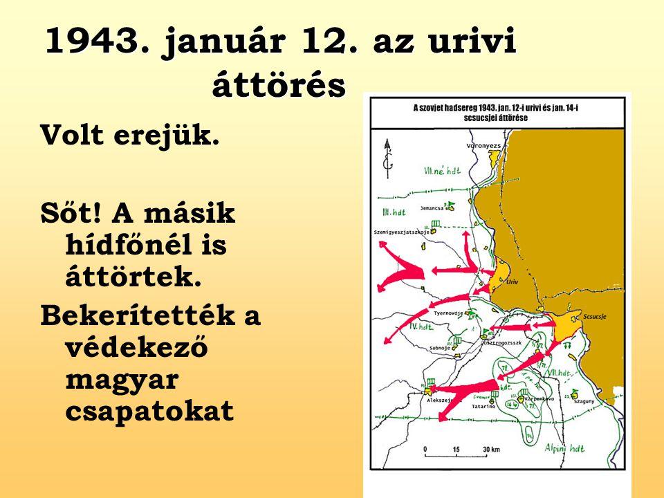 1943. január 12. az urivi áttörés Volt erejük. Sőt! A másik hídfőnél is áttörtek. Bekerítették a védekező magyar csapatokat