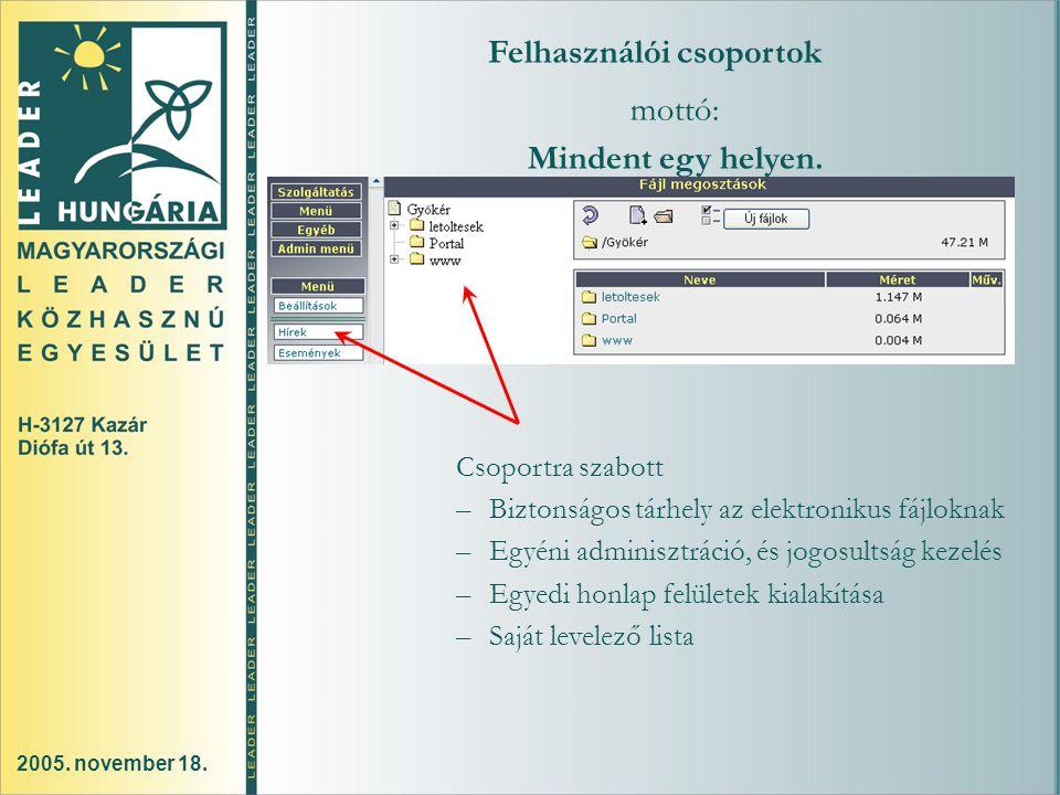 2005. november 18. Felhasználói csoportok mottó: Mindent egy helyen.