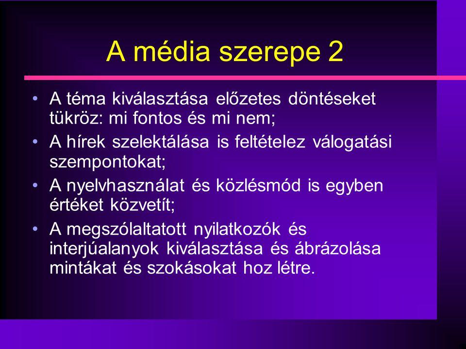 A média szerepe 2 •A téma kiválasztása előzetes döntéseket tükröz: mi fontos és mi nem; •A hírek szelektálása is feltételez válogatási szempontokat; •
