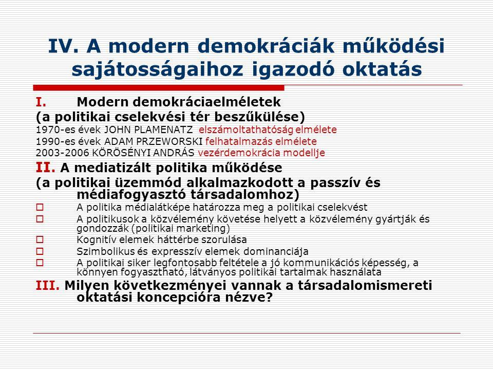 IV. A modern demokráciák működési sajátosságaihoz igazodó oktatás I.Modern demokráciaelméletek (a politikai cselekvési tér beszűkülése) 1970-es évek J
