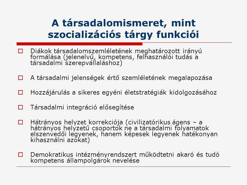 A társadalomismeret, mint szocializációs tárgy funkciói  Diákok társadalomszemléletének meghatározott irányú formálása (jelenelvű, kompetens, felhasználói tudás a társadalmi szerepvállaláshoz)  A társadalmi jelenségek értő szemléletének megalapozása  Hozzájárulás a sikeres egyéni életstratégiák kidolgozásához  Társadalmi integráció elősegítése  Hátrányos helyzet korrekciója (civilizatórikus ágens – a hátrányos helyzetű csoportok ne a társadalmi folyamatok elszenvedői legyenek, hanem képesek legyenek hatékonyan kihasználni azokat)  Demokratikus intézményrendszert működtetni akaró és tudó kompetens állampolgárok nevelése
