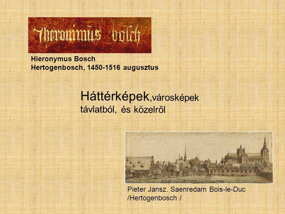 Pieter Jansz. Saenredam Bois-le-Duc /Hertogenbosch / Háttérképek,városképek távlatból, és közelről Hieronymus Bosch Hertogenbosch, 1450-1516 augusztus
