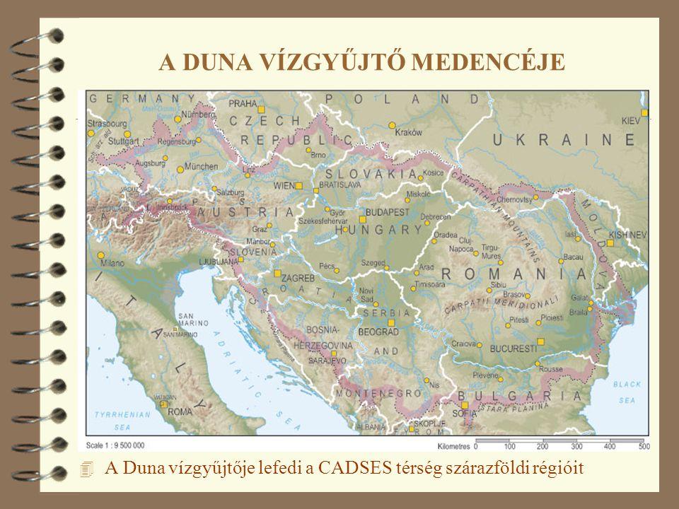 4 A Duna vízgyűjtője lefedi a CADSES térség szárazföldi régióit A DUNA VÍZGYŰJTŐ MEDENCÉJE
