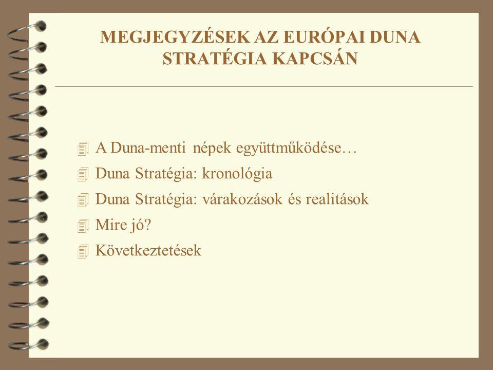 4 A Duna-menti népek együttműködése… 4 Duna Stratégia: kronológia 4 Duna Stratégia: várakozások és realitások 4 Mire jó? 4 Következtetések MEGJEGYZÉSE