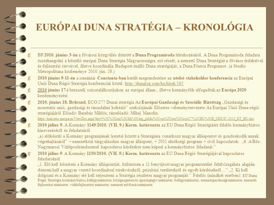 4 BP 2010. június 3-án a fővárosi közgyűlés döntött a Duna Programiroda létrehozásáról. A Duna Programiroda feladata összehangolni a készülő európai D