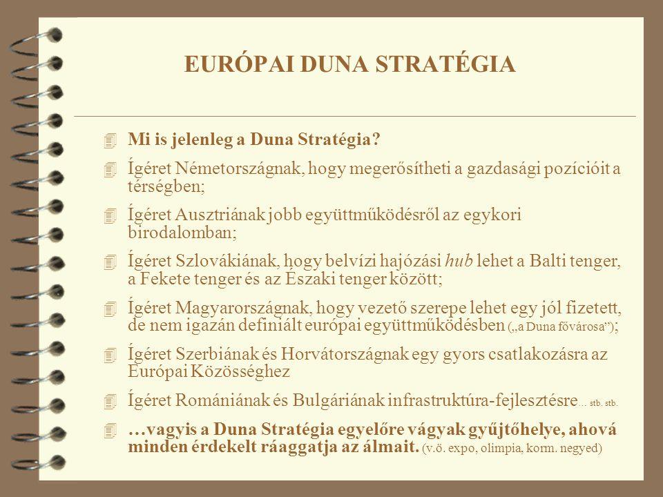 4 Mi is jelenleg a Duna Stratégia? 4 Ígéret Németországnak, hogy megerősítheti a gazdasági pozícióit a térségben; 4 Ígéret Ausztriának jobb együttműkö