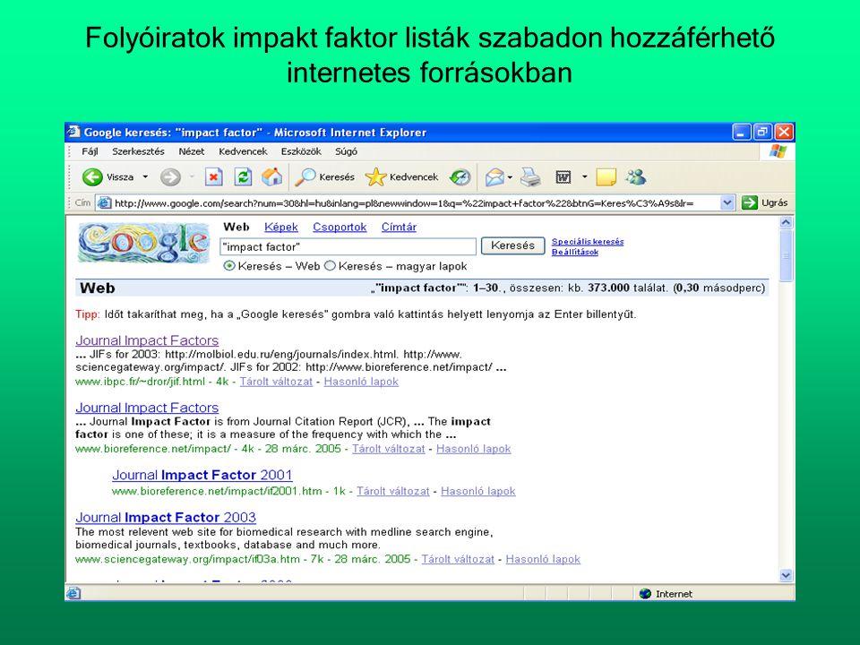 Folyóiratok impakt faktor listák szabadon hozzáférhető internetes forrásokban