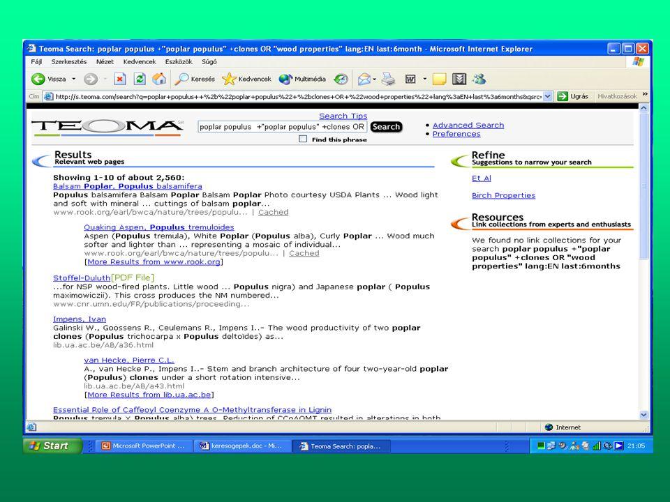 Korlátozott (helyi hálózati) hozzáférésű elektronikus információforrások •Forest Science Database (TreeCD) CD-ROM - 130 ország 75 nyelven írt szakirodalma - Referáló folyóiratokat dolgoz fel: Forestry Abstracts 1939- Forest Products Abstracts 1978- Agroforestry Abstracts 1988- - Aktuálizálás negyed évente - SPIRS keresőnyelve