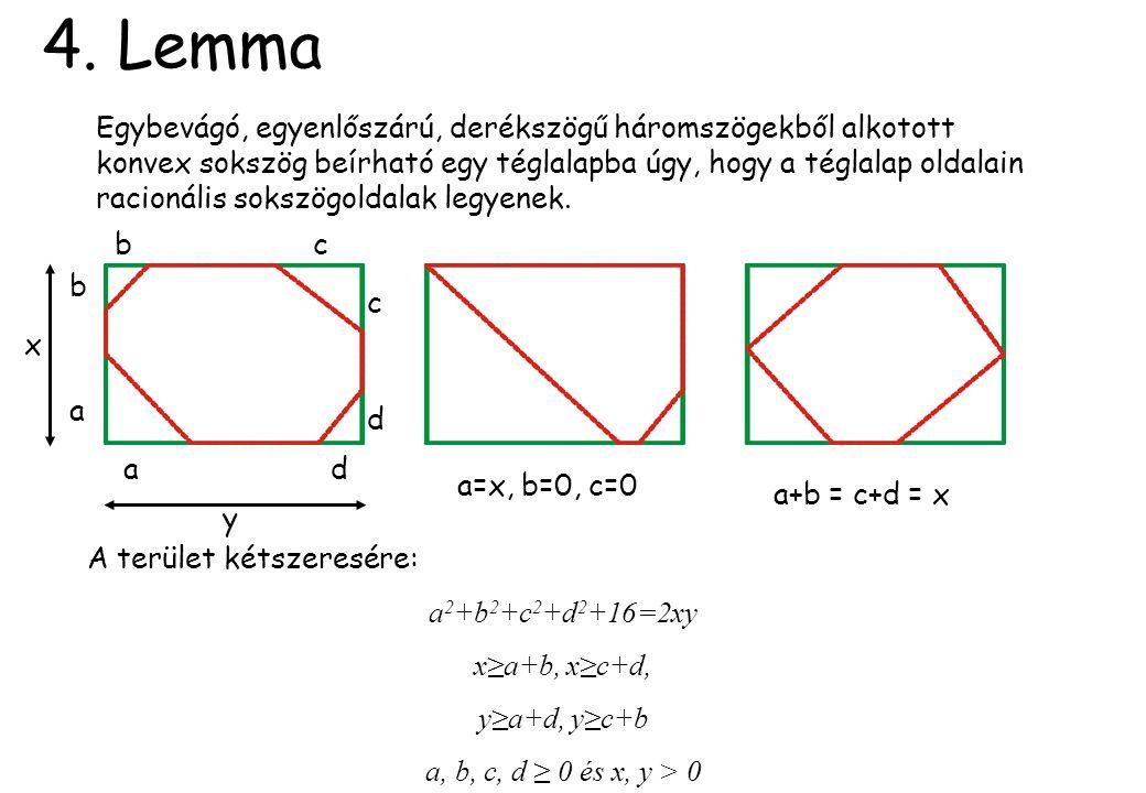 4. Lemma Egybevágó, egyenlőszárú, derékszögű háromszögekből alkotott konvex sokszög beírható egy téglalapba úgy, hogy a téglalap oldalain racionális s