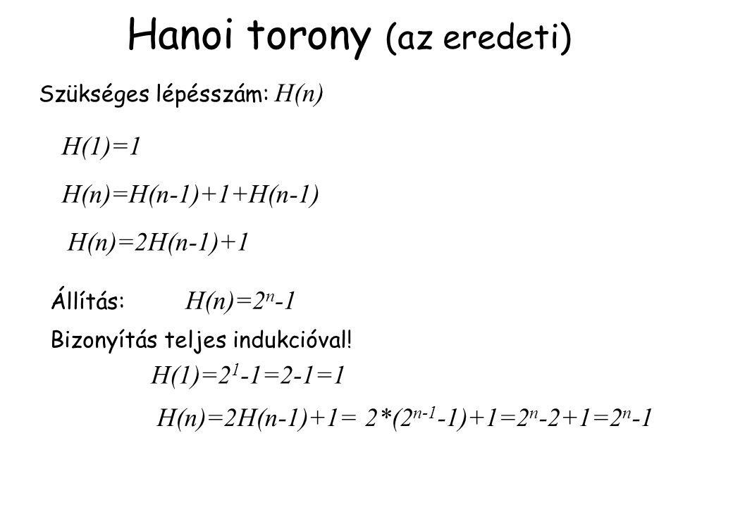 Hanoi torony (az eredeti) Szükséges lépésszám: H(n) H(n)=H(n-1)+1+H(n-1) H(n)=2H(n-1)+1 H(1)=1 Állítás: H(n)=2 n -1 Bizonyítás teljes indukcióval! H(1