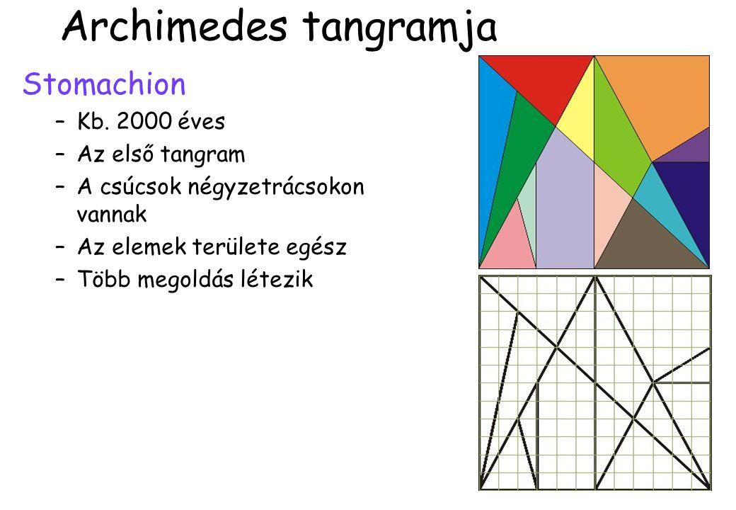 Archimedes tangramja Stomachion –Kb. 2000 éves –Az első tangram –A csúcsok négyzetrácsokon vannak –Az elemek területe egész –Több megoldás létezik