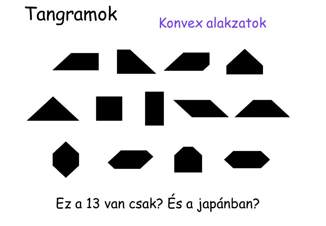 Megoldatlan problémák: •Egyéb tangramokból előállítható konvex alakzatok •Reve játékának (4-es hanoi) optimális stratégiája •Ciklikus és szomszédos hanoi jó stratégiája •Ezek lépésszámára egy jobb, zárt alakú becslés •4-nél több tornyú hanoik vizsgálata Tangramok és hanoi tornyok