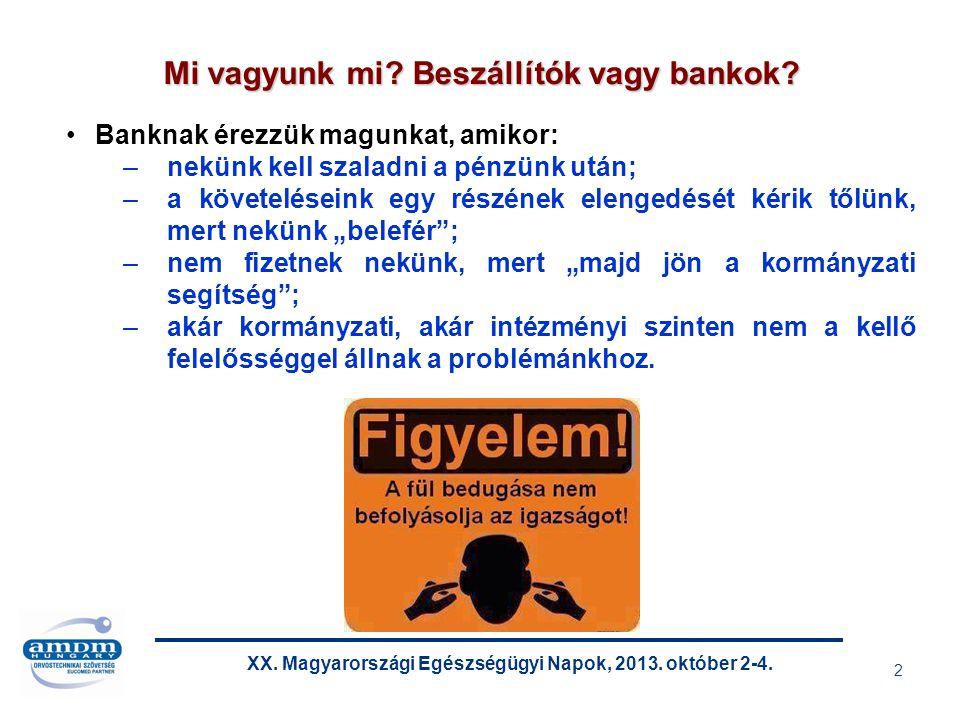 XX. Magyarországi Egészségügyi Napok, 2013. október 2-4. 13 Forrás: Magyar Államkincstár