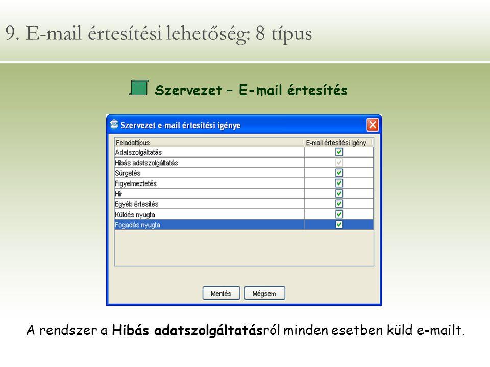 9. E-mail értesítési lehetőség: 8 típus Szervezet – E-mail értesítés A rendszer a Hibás adatszolgáltatásról minden esetben küld e-mailt.