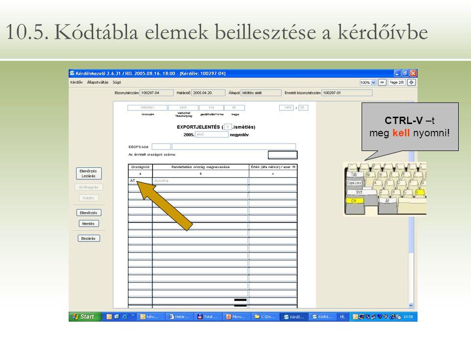 10.5. Kódtábla elemek beillesztése a kérdőívbe = CTRL-V –t meg kell nyomni!