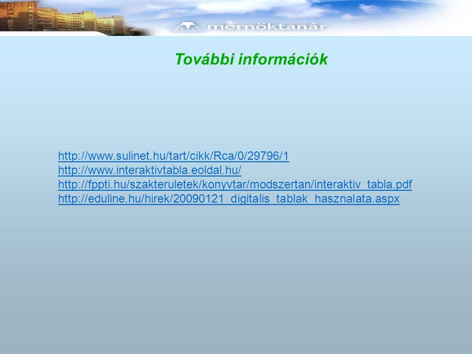 További információk http://www.sulinet.hu/tart/cikk/Rca/0/29796/1 http://www.interaktivtabla.eoldal.hu/ http://fppti.hu/szakteruletek/konyvtar/modszertan/interaktiv_tabla.pdf http://eduline.hu/hirek/20090121_digitalis_tablak_hasznalata.aspx