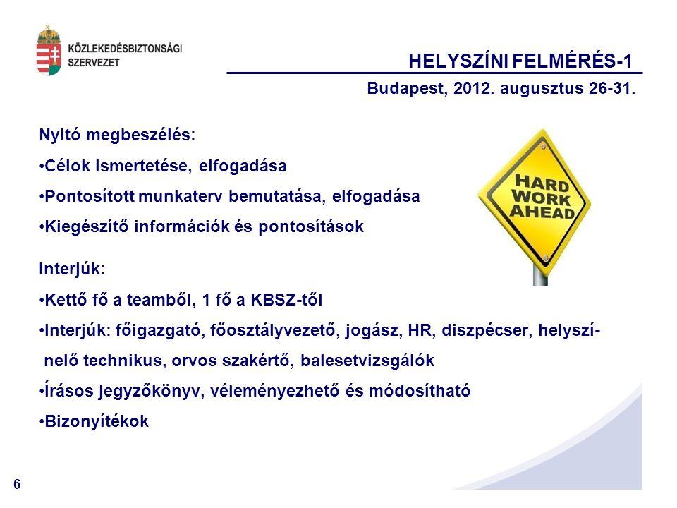 6 HELYSZÍNI FELMÉRÉS-1 Budapest, 2012. augusztus 26-31. Nyitó megbeszélés: •Célok ismertetése, elfogadása •Pontosított munkaterv bemutatása, elfogadás