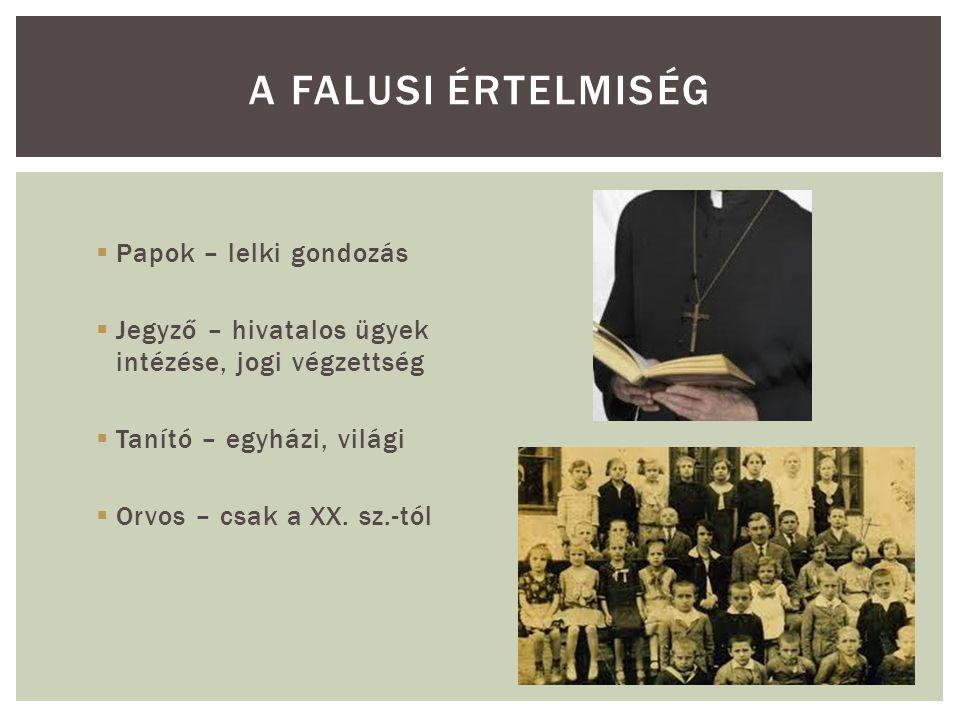  Papok – lelki gondozás  Jegyző – hivatalos ügyek intézése, jogi végzettség  Tanító – egyházi, világi  Orvos – csak a XX. sz.-tól A FALUSI ÉRTELMI