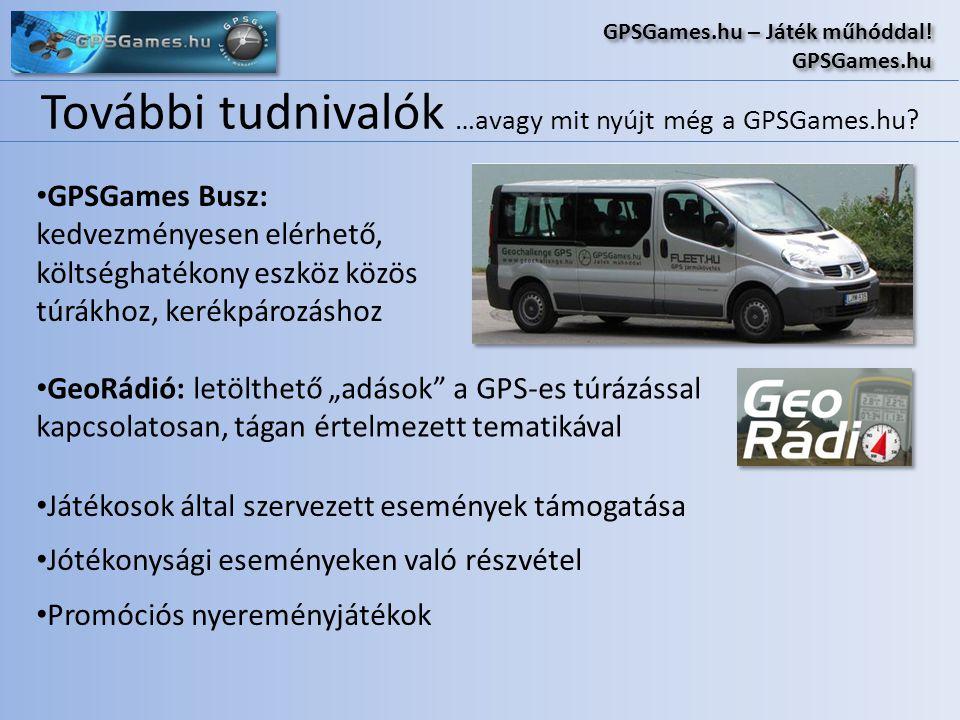 További tudnivalók …avagy mit nyújt még a GPSGames.hu? GPSGames.hu – Játék műhóddal! GPSGames.hu GPSGames.hu – Játék műhóddal! GPSGames.hu • GPSGames