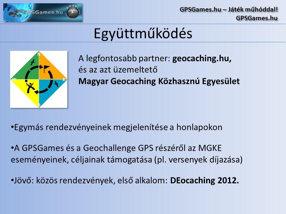 Együttműködés GPSGames.hu – Játék műhóddal! GPSGames.hu GPSGames.hu – Játék műhóddal! GPSGames.hu A legfontosabb partner: geocaching.hu, és az azt üze