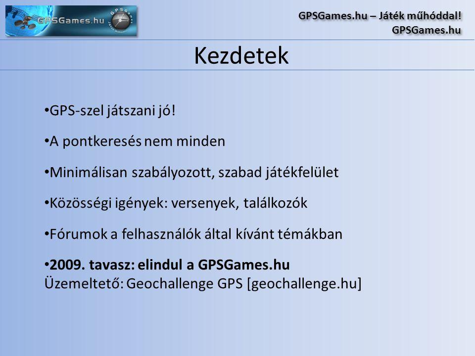 Kezdetek GPSGames.hu – Játék műhóddal! GPSGames.hu GPSGames.hu – Játék műhóddal! GPSGames.hu • GPS-szel játszani jó! • A pontkeresés nem minden • Mini