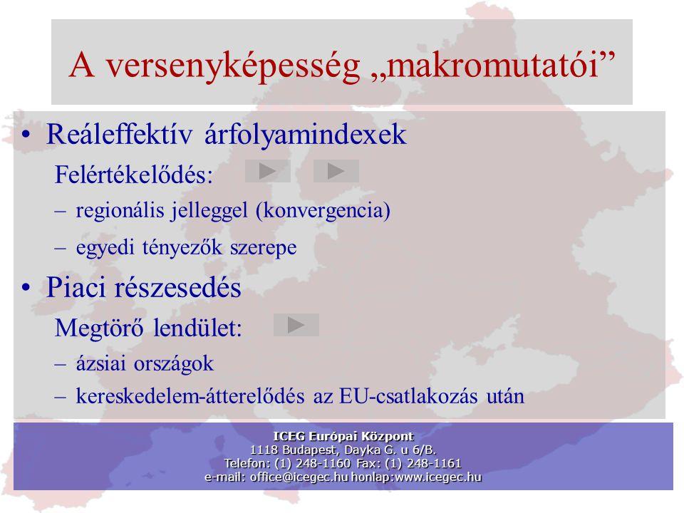 """A versenyképesség """"makromutatói •Reáleffektív árfolyamindexek Felértékelődés: –regionális jelleggel (konvergencia) –egyedi tényezők szerepe •Piaci részesedés Megtörő lendület: –ázsiai országok –kereskedelem-átterelődés az EU-csatlakozás után ICEG Európai Központ 1118 Budapest, Dayka G."""