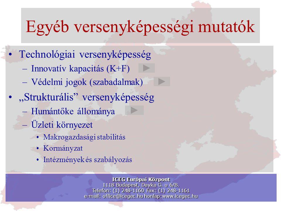 """Egyéb versenyképességi mutatók •Technológiai versenyképesség –Innovatív kapacitás (K+F) –Védelmi jogok (szabadalmak) •""""Strukturális versenyképesség –Humántőke állománya –Üzleti környezet •Makrogazdasági stabilitás •Kormányzat •Intézmények és szabályozás ICEG Európai Központ 1118 Budapest, Dayka G."""