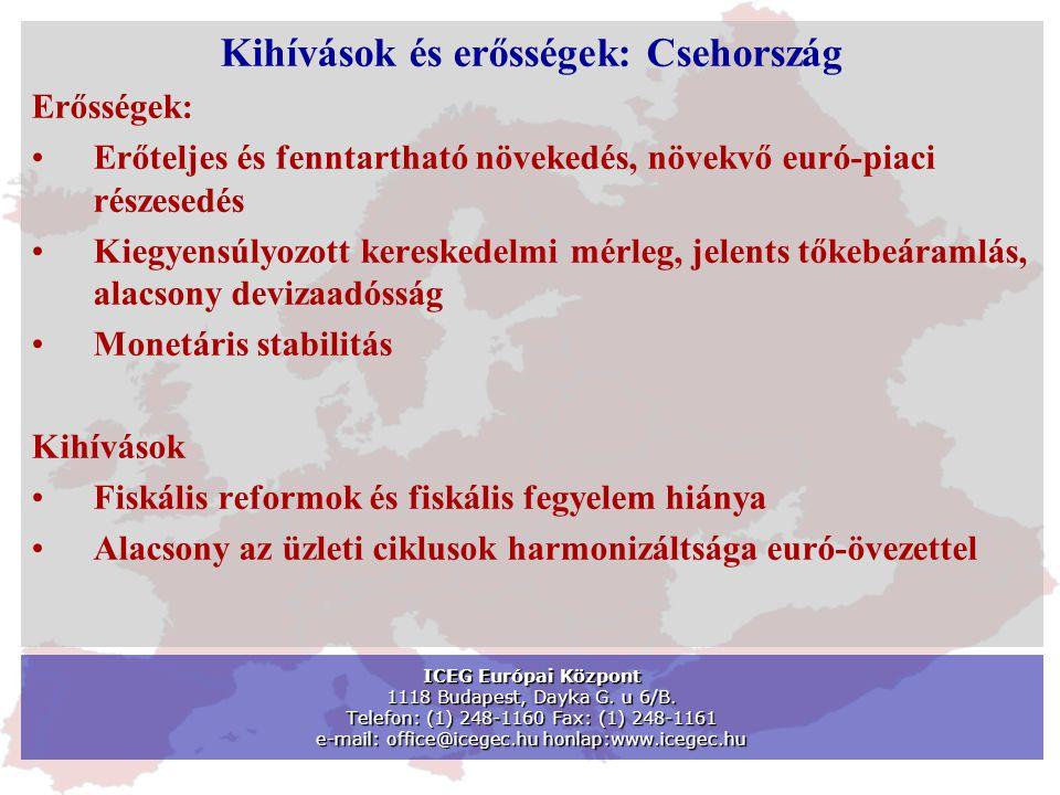 Kihívások és erősségek: Csehország Erősségek: •Erőteljes és fenntartható növekedés, növekvő euró-piaci részesedés •Kiegyensúlyozott kereskedelmi mérle
