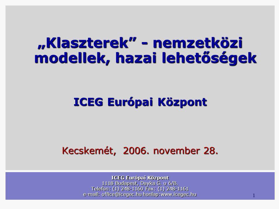 "1 ICEG Európai Központ 1118 Budapest, Dayka G. u 6/B. Telefon: (1) 248-1160 Fax: (1) 248-1161 e-mail: office@icegec.hu honlap:www.icegec.hu ""Klasztere"