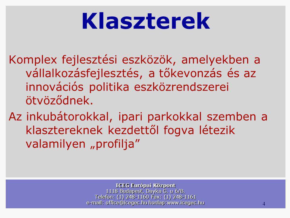 4 ICEG Európai Központ 1118 Budapest, Dayka G. u 6/B. Telefon: (1) 248-1160 Fax: (1) 248-1161 e-mail: office@icegec.hu honlap:www.icegec.hu Klaszterek