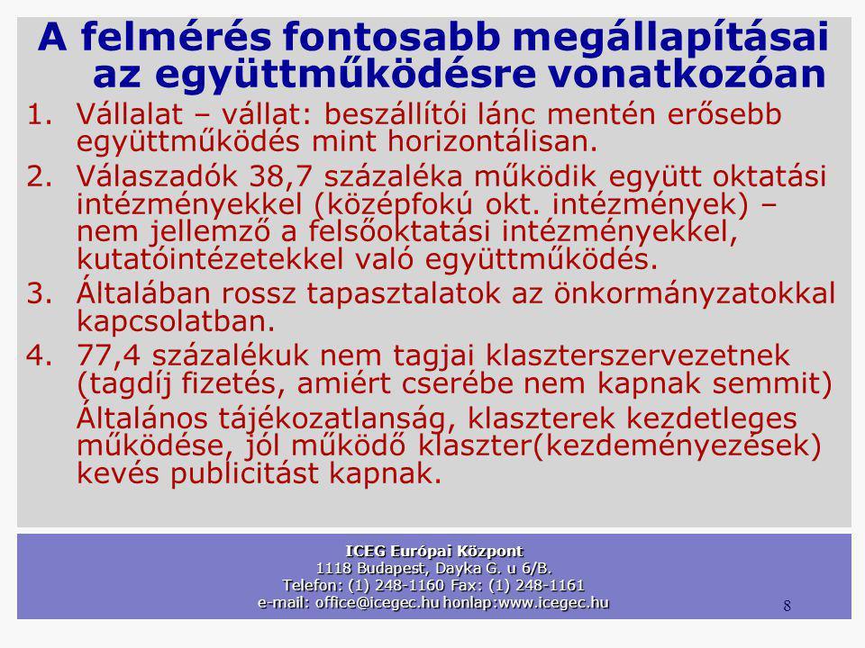 8 ICEG Európai Központ 1118 Budapest, Dayka G. u 6/B. Telefon: (1) 248-1160 Fax: (1) 248-1161 e-mail: office@icegec.hu honlap:www.icegec.hu A felmérés