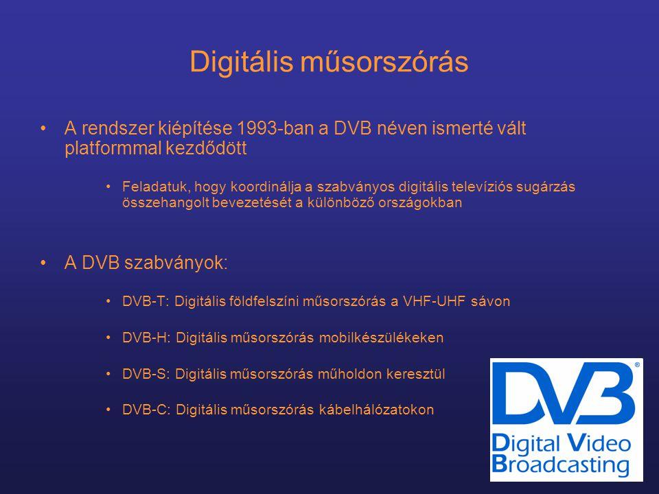 Digitális műsorszórás •A rendszer kiépítése 1993-ban a DVB néven ismerté vált platformmal kezdődött •Feladatuk, hogy koordinálja a szabványos digitális televíziós sugárzás összehangolt bevezetését a különböző országokban •A DVB szabványok: •DVB-T: Digitális földfelszíni műsorszórás a VHF-UHF sávon •DVB-H: Digitális műsorszórás mobilkészülékeken •DVB-S: Digitális műsorszórás műholdon keresztül •DVB-C: Digitális műsorszórás kábelhálózatokon
