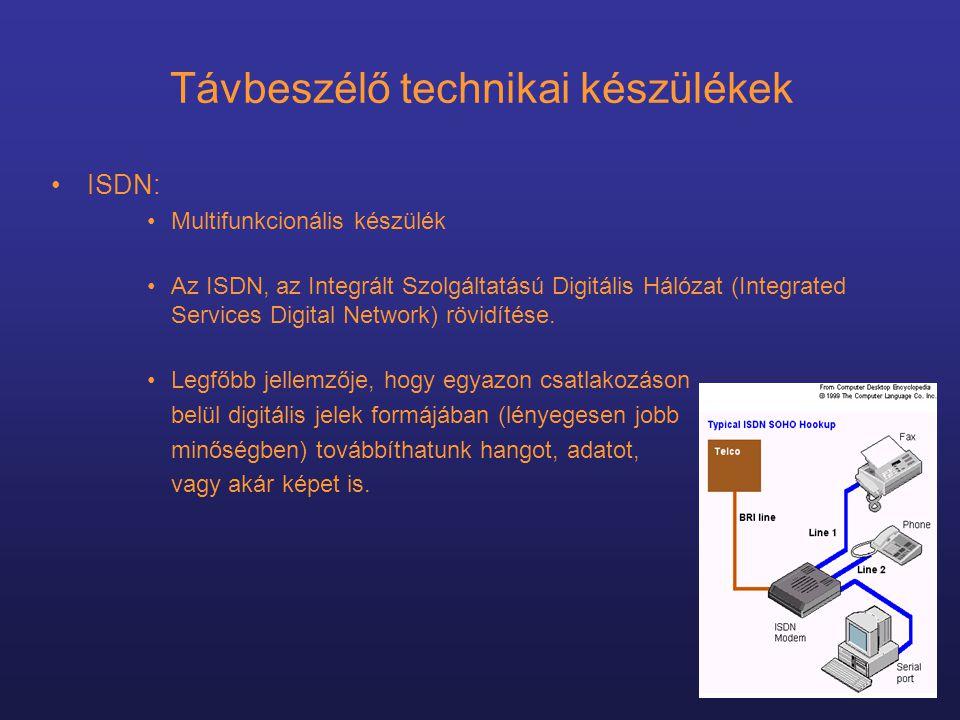 Távbeszélő technikai készülékek •ISDN: •Multifunkcionális készülék •Az ISDN, az Integrált Szolgáltatású Digitális Hálózat (Integrated Services Digital Network) rövidítése.