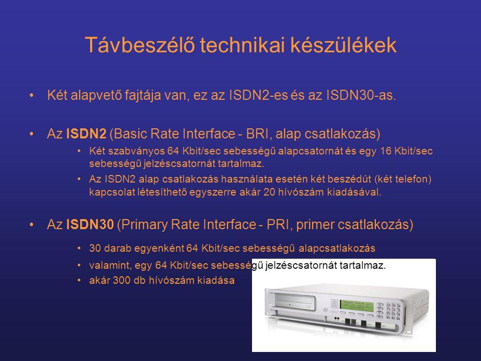 Távbeszélő technikai készülékek •Két alapvető fajtája van, ez az ISDN2-es és az ISDN30-as.