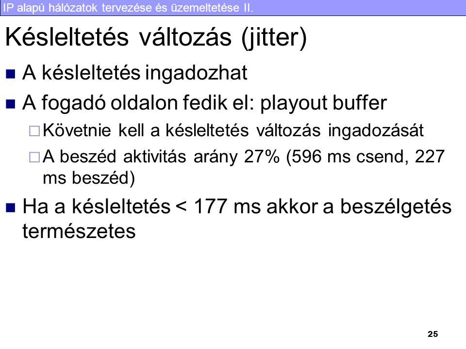 IP alapú hálózatok tervezése és üzemeltetése II. 25 Késleltetés változás (jitter)  A késleltetés ingadozhat  A fogadó oldalon fedik el: playout buff