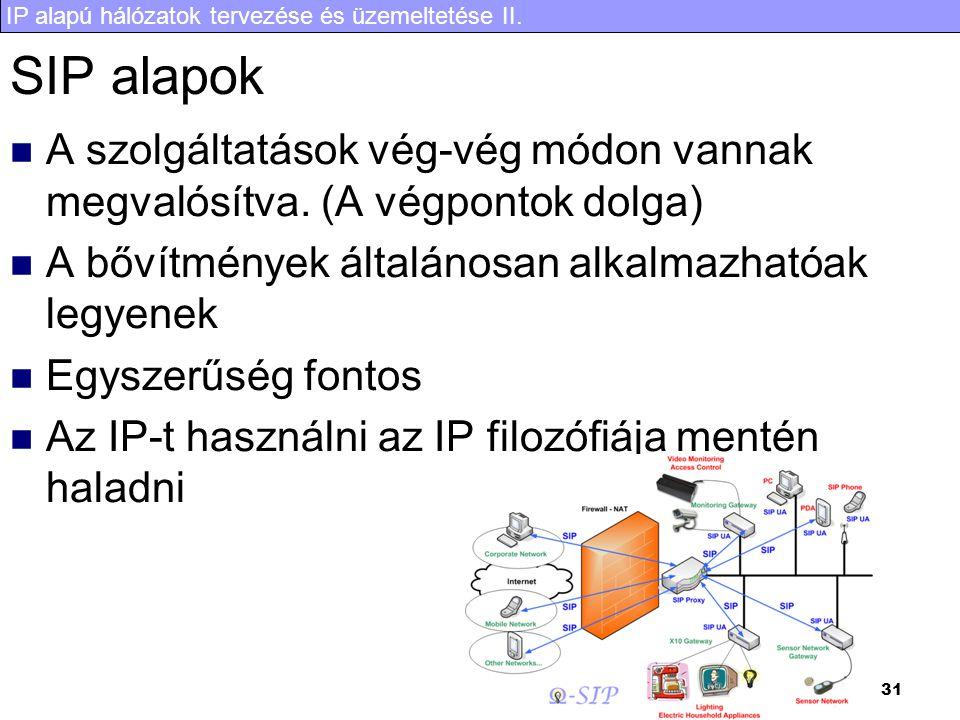 IP alapú hálózatok tervezése és üzemeltetése II. 31 SIP alapok  A szolgáltatások vég-vég módon vannak megvalósítva. (A végpontok dolga)  A bővítmény