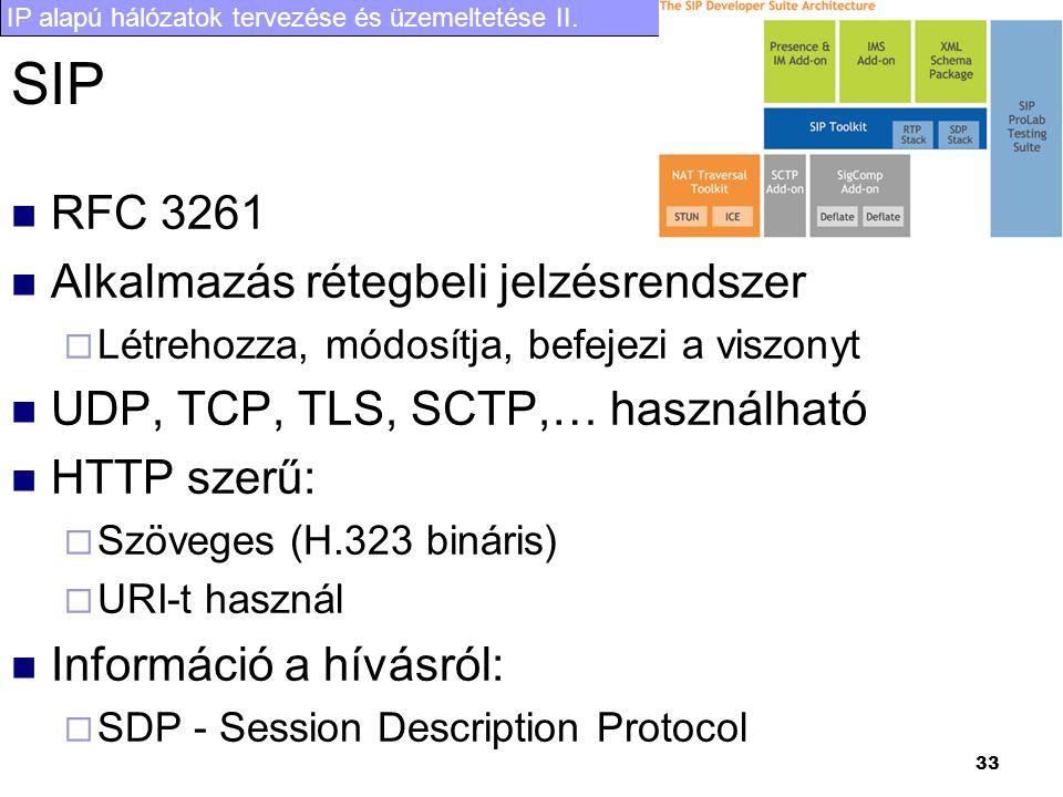 IP alapú hálózatok tervezése és üzemeltetése II. 33 SIP  RFC 3261  Alkalmazás rétegbeli jelzésrendszer  Létrehozza, módosítja, befejezi a viszonyt