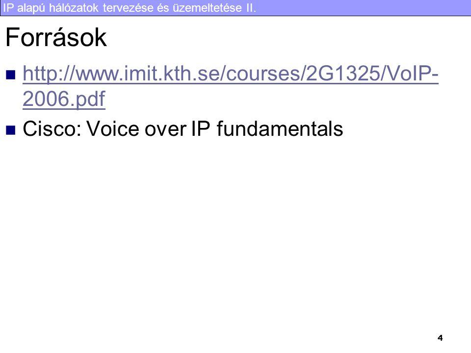 IP alapú hálózatok tervezése és üzemeltetése II. 4 Források  http://www.imit.kth.se/courses/2G1325/VoIP- 2006.pdf http://www.imit.kth.se/courses/2G13